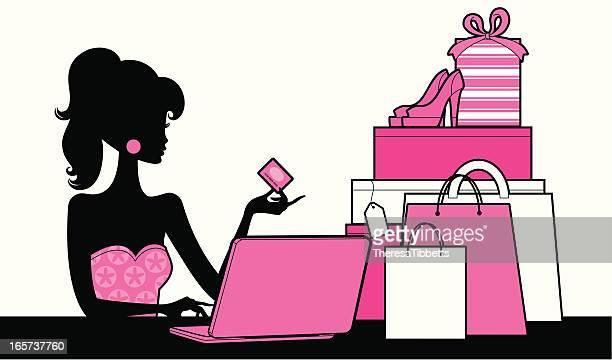 Chica con las compras por Internet