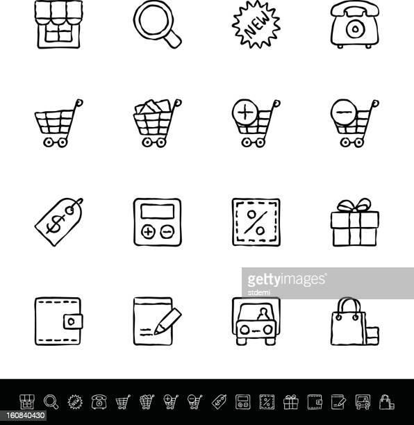 einkaufen im internet - handwagen stock-grafiken, -clipart, -cartoons und -symbole
