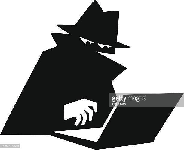internet spy - identity theft stock illustrations