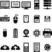 Internet Technology 20 Black Icons
