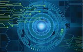 Internet technology and business interface background circles. HUD
