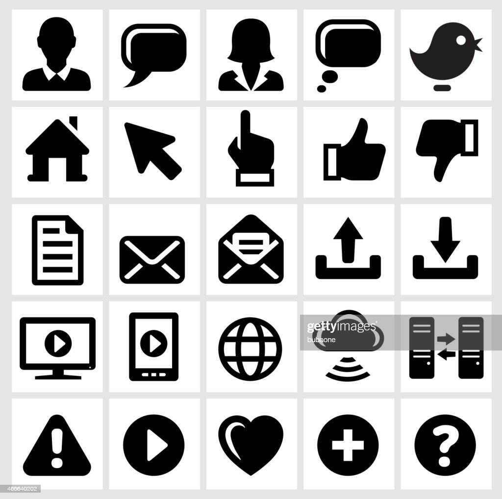 Internet Technology and Communication interface icons on White Background