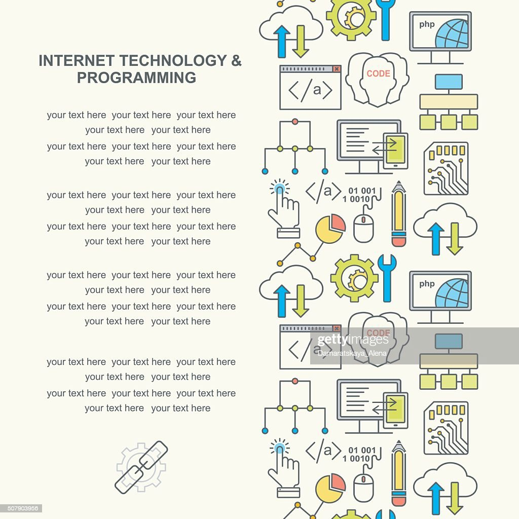 Internet technology and programming background with colored linear icons