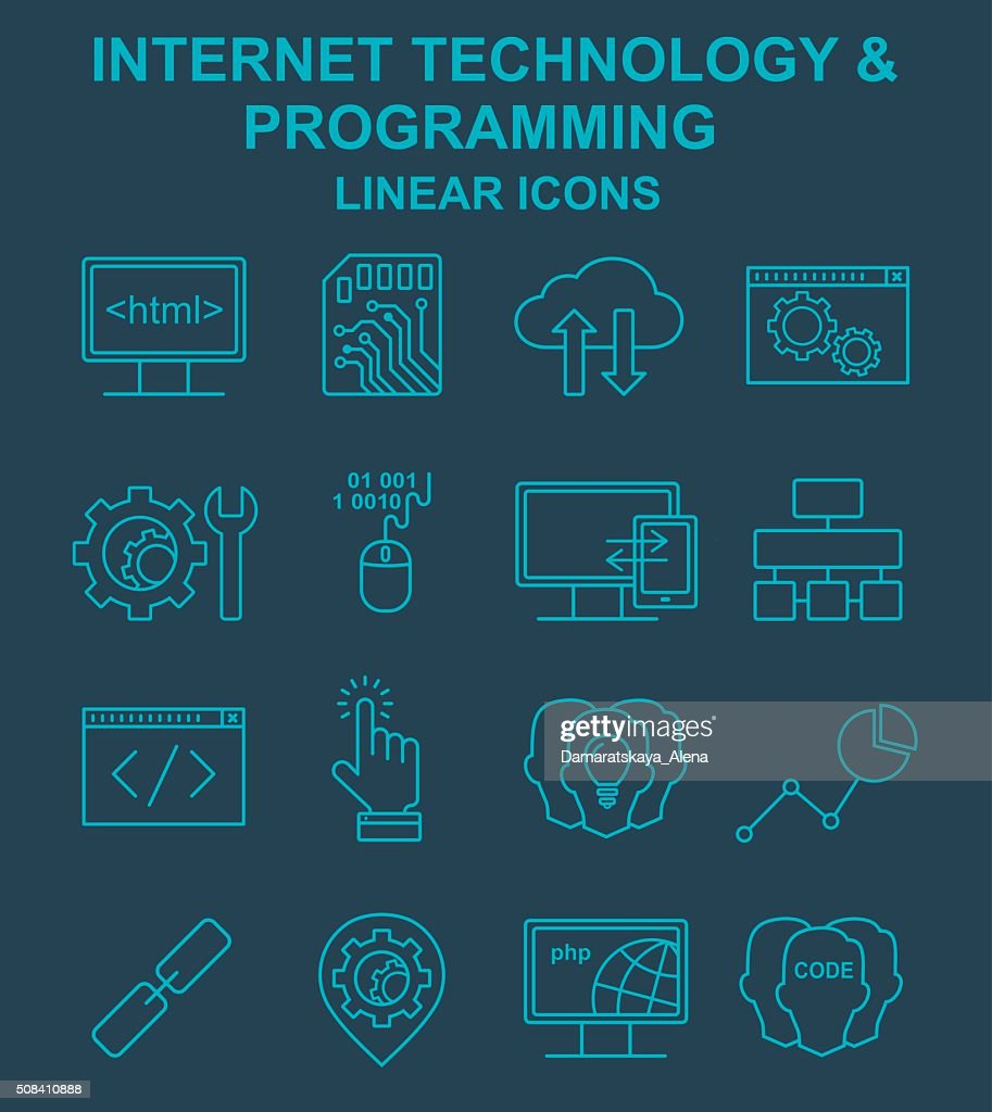 Internet technology and programming linear icons se