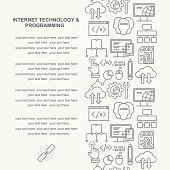 Internet technology and programming pattern with linear icons on white