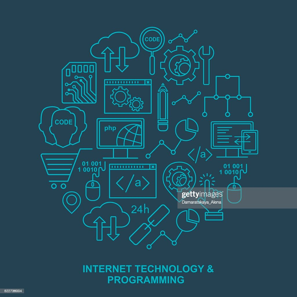 Internet technology and programming round background with linear icons