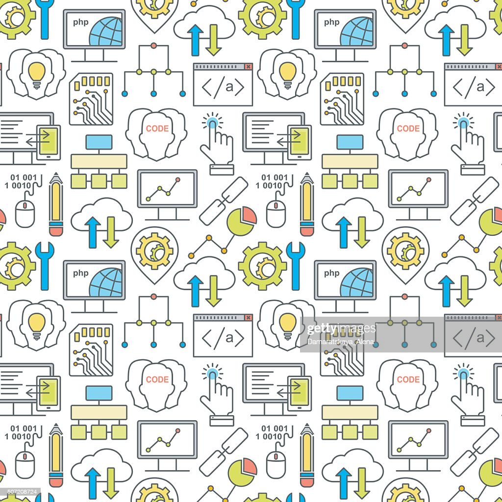 Internet technology and programming seamless background with linear icons set