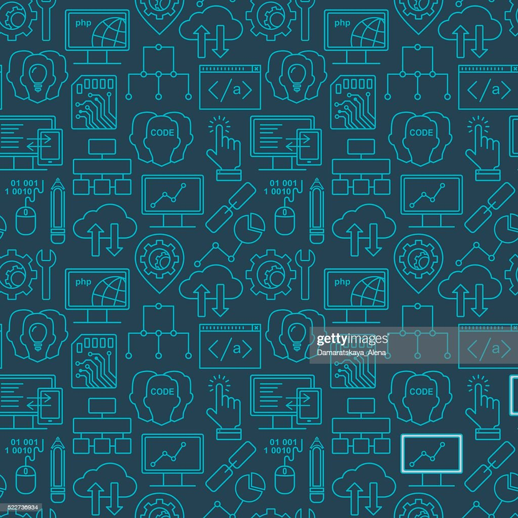 Internet technology and programming seamless background with linear icons