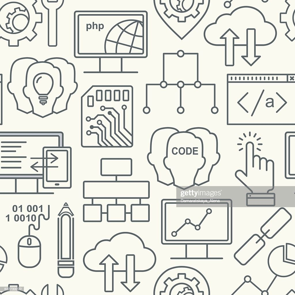 Internet technology and programming seamless vector background with linear icons