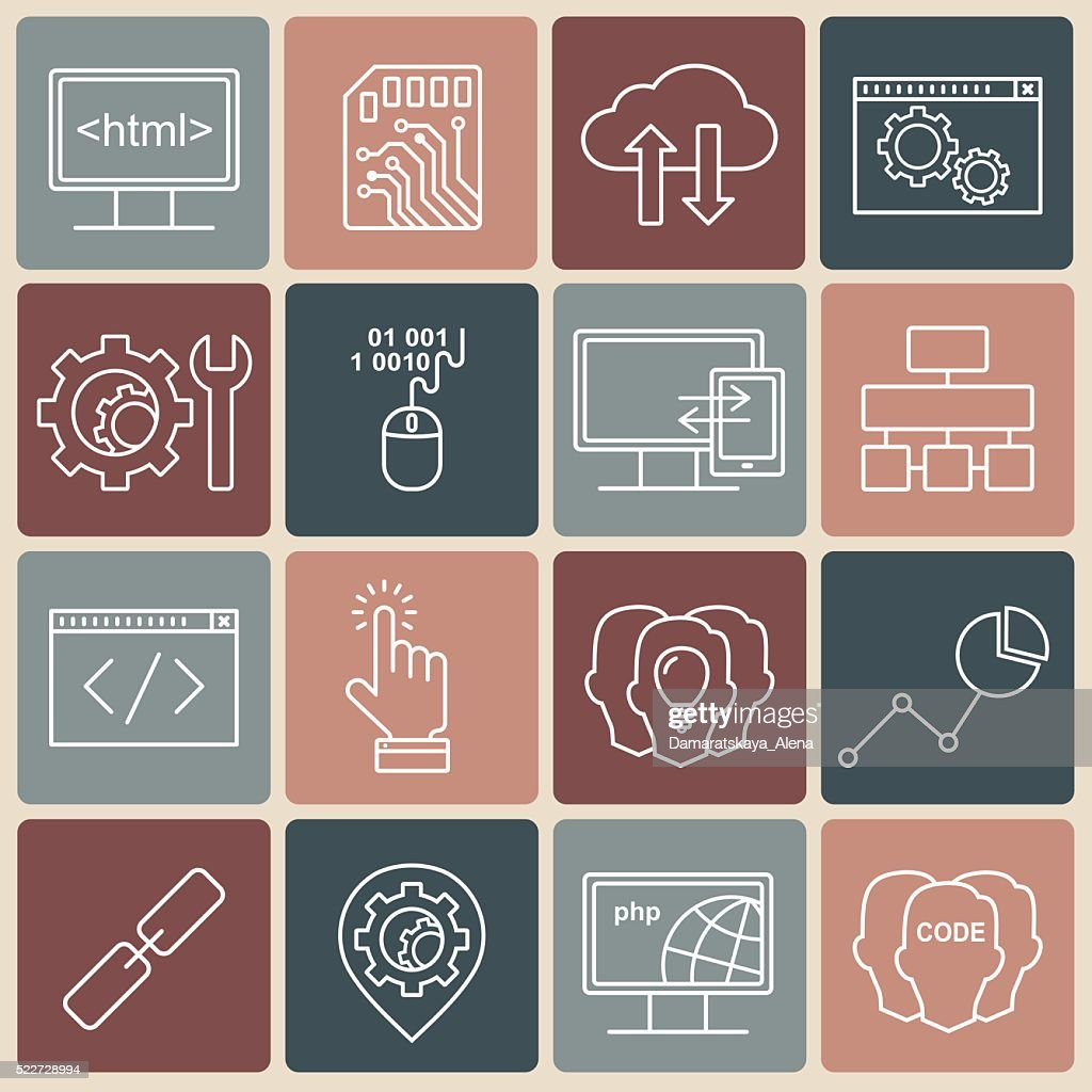 Internet technology and programming vector linear icons set.
