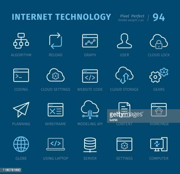 インターネット技術 - キャプション付きのアウトラインアイコン - ホームページ点のイラスト素材/クリップアート素材/マンガ素材/アイコン素材