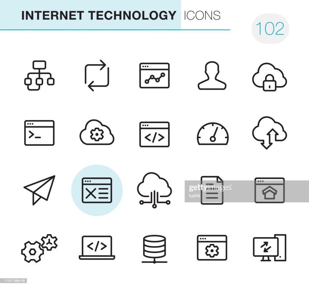 インターネット技術-ピクセルパーフェクトアイコン : ストックイラストレーション
