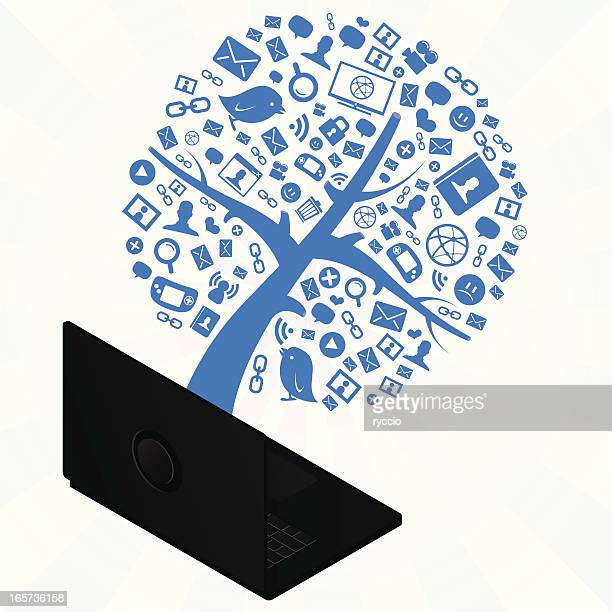internet tree coming out from a laptop - emitting stock illustrations, clip art, cartoons, & icons