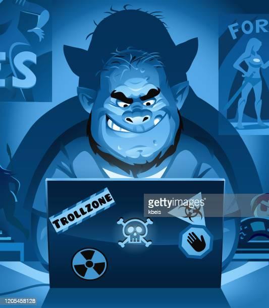 internet troll at night - computer hacker stock illustrations