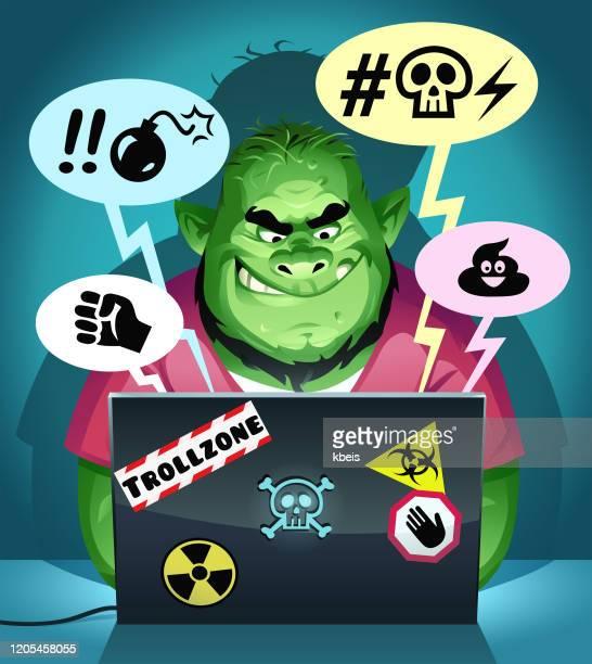 ilustrações de stock, clip art, desenhos animados e ícones de internet troll posting mean comments - cyberbullying