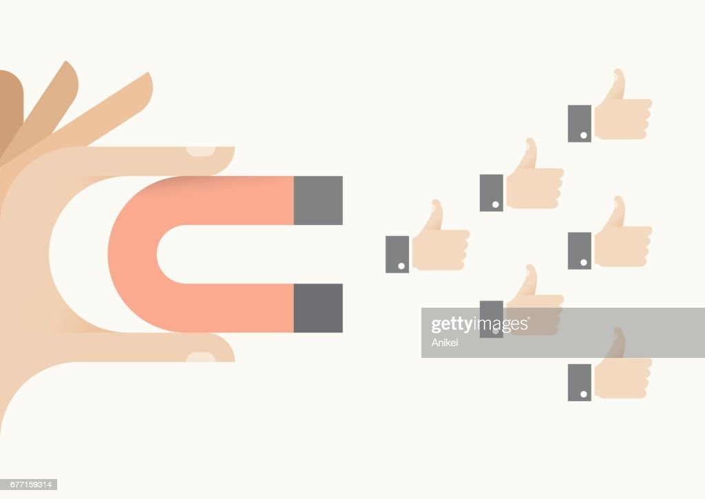 Internet user holding abstract magnet attracting thumbs up icons. Idea - Social networking, article feedback and appreciation, online relationships and messaging concepts.