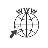 internet web icon with grey cursor vector illustration.
