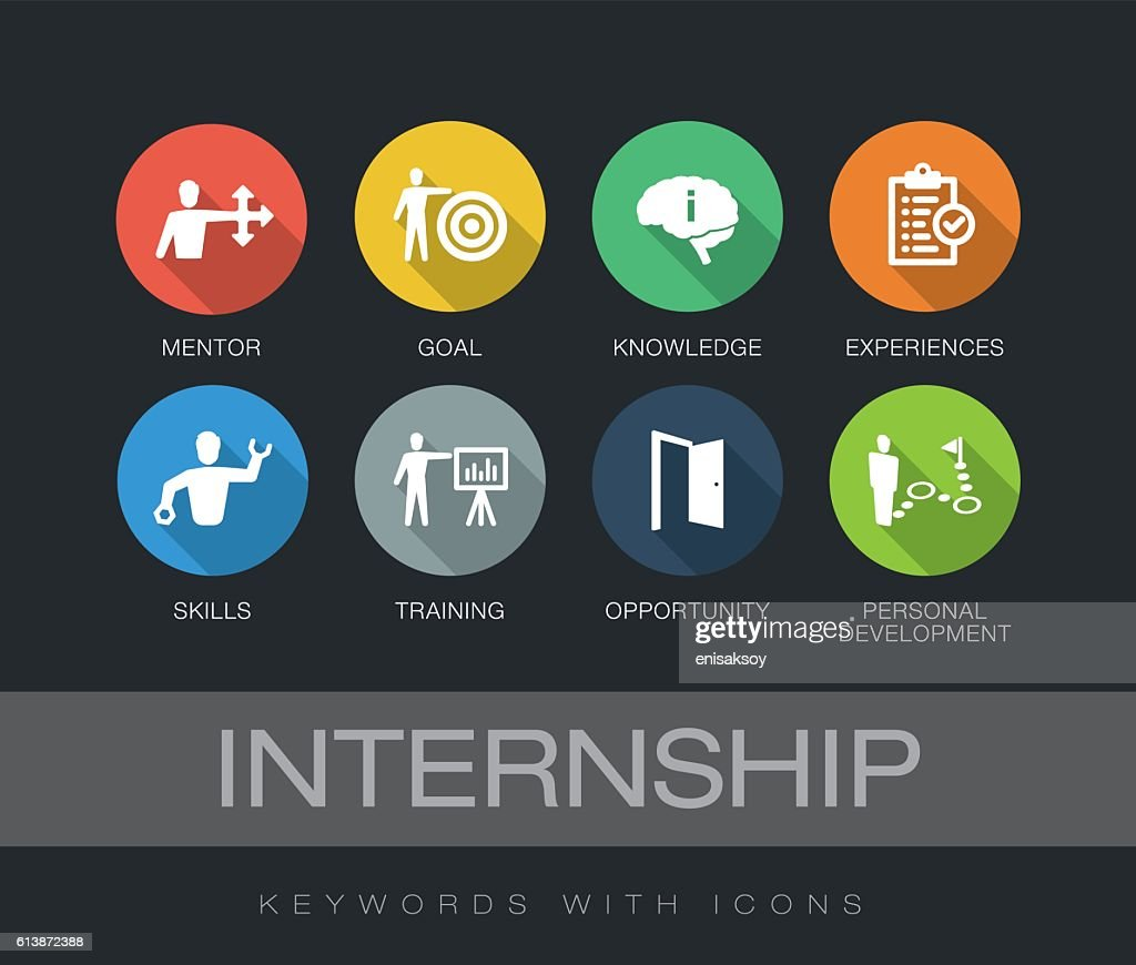 Internship keywords with icons