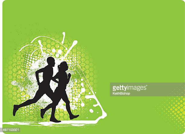 Interracial Couple Jogging Background - Fitness Graphic