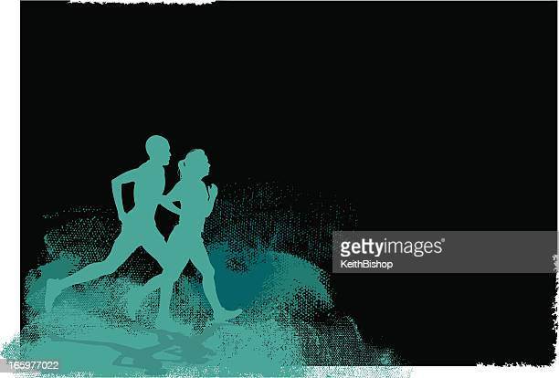 Interracial Couple Jogging Background