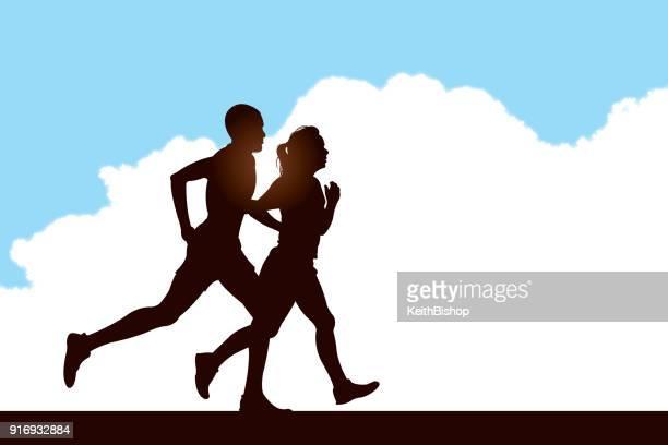 interracial couple jogging background - jogging stock illustrations, clip art, cartoons, & icons