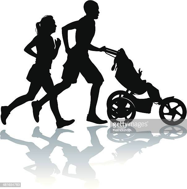 interracial couple jogging, exercising with baby stroller - three wheeled pushchair stock illustrations, clip art, cartoons, & icons