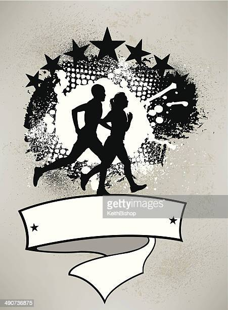 interracial couple jogging - fitness graphic - women's track stock illustrations, clip art, cartoons, & icons