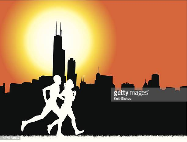 interracial couple jogging in chicago - fitness graphic background - chicago loop stock illustrations, clip art, cartoons, & icons