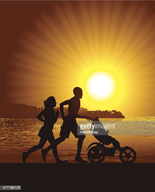 interracial couple jogging with baby at beach - three wheeled pushchair stock illustrations, clip art, cartoons, & icons