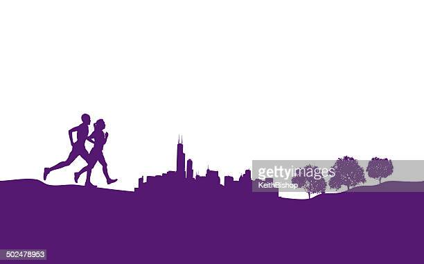 interracial couple running jogging city park graphic - chicago loop stock illustrations, clip art, cartoons, & icons