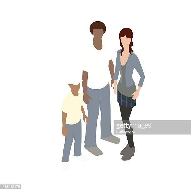 Interracial family illustration