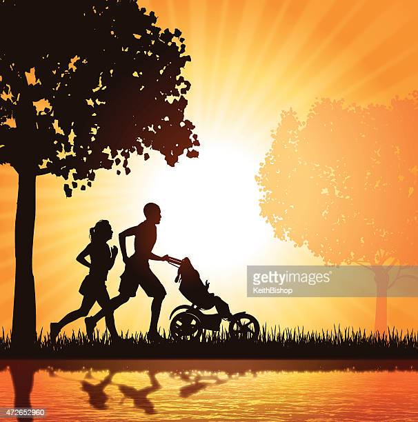 interracial family - joggers in park background - three wheeled pushchair stock illustrations, clip art, cartoons, & icons