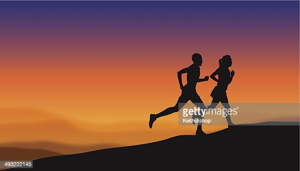 interracial heterosexual couple jogging at sunset, sunrise, fitness - women's track stock illustrations, clip art, cartoons, & icons