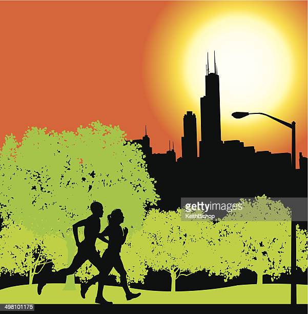 interracial joggers in chicago city park background - chicago loop stock illustrations, clip art, cartoons, & icons