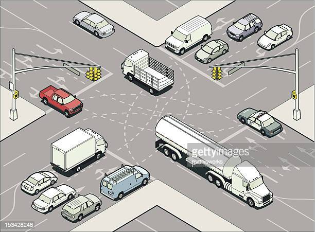 intersection illustration - mathisworks vehicles stock illustrations