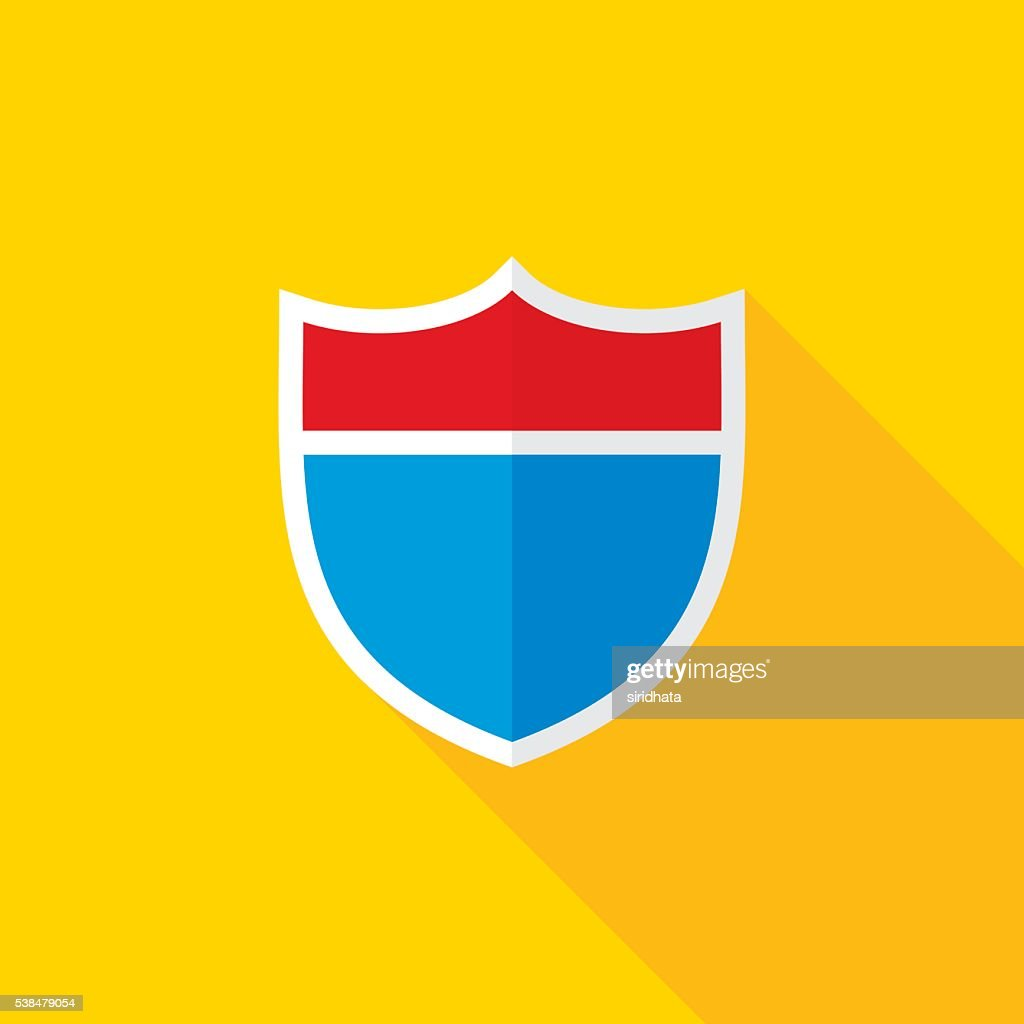 Interstate Road Shield Flat Long Shadow Icon