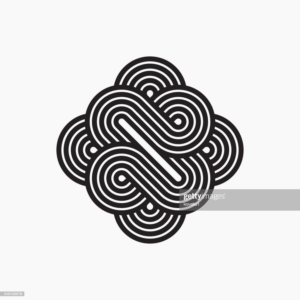 Intertwined symbol, stripy line art