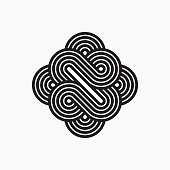 Intertwined symbol, stripy line art