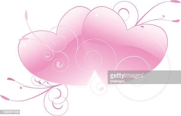 intertwining pink hearts and flourishes - anniversary card stock illustrations