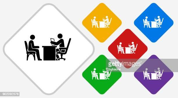 Interview Color Diamond Vector Icon