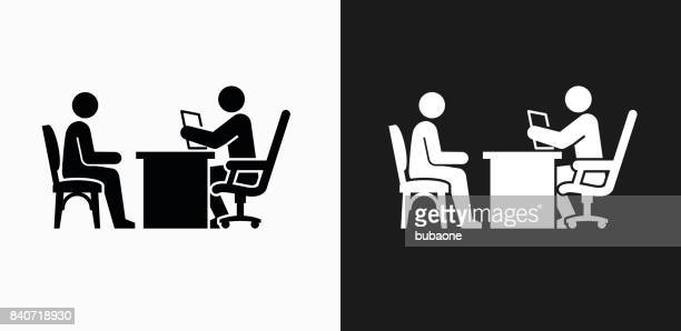 interview icon on black and white vector backgrounds - job interview stock illustrations, clip art, cartoons, & icons