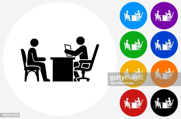 interview icon on flat color circle buttons - interview stock illustrations, clip art, cartoons, & icons