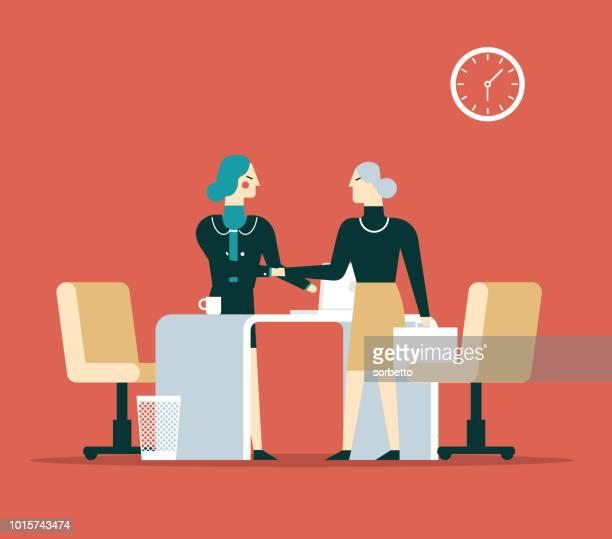 illustrazioni stock, clip art, cartoni animati e icone di tendenza di intervista - donne anziane - collega d'ufficio