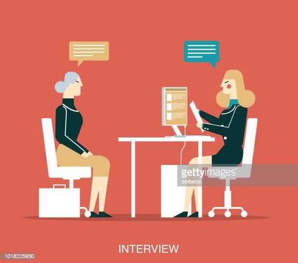 interview - senior women - job interview stock illustrations, clip art, cartoons, & icons