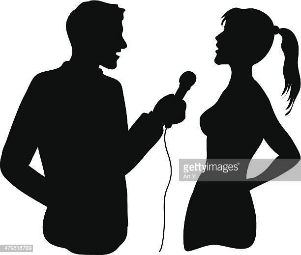 interview - tv reporter stock illustrations, clip art, cartoons, & icons