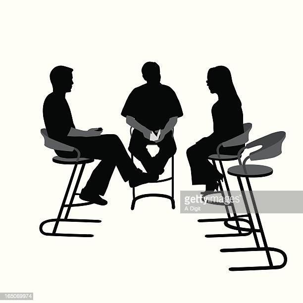 tv interview vector silhouette - three people stock illustrations