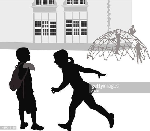 ilustraciones, imágenes clip art, dibujos animados e iconos de stock de la intimidación - edificio de escuela primaria