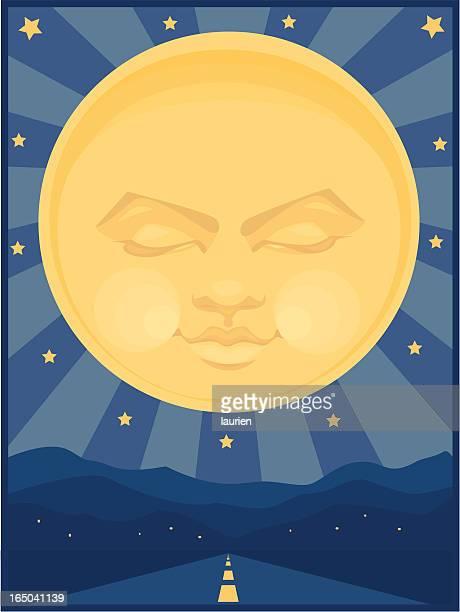 ilustraciones, imágenes clip art, dibujos animados e iconos de stock de en la noche - sol en la cara