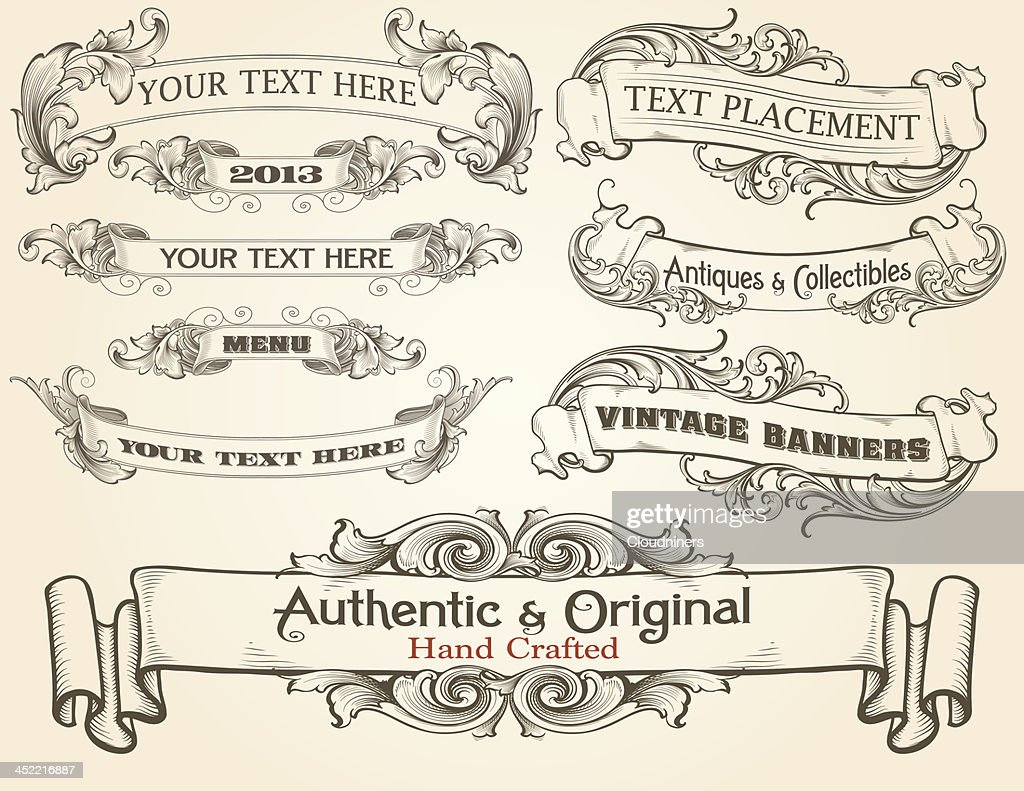 Intricate Engraved Text Banners