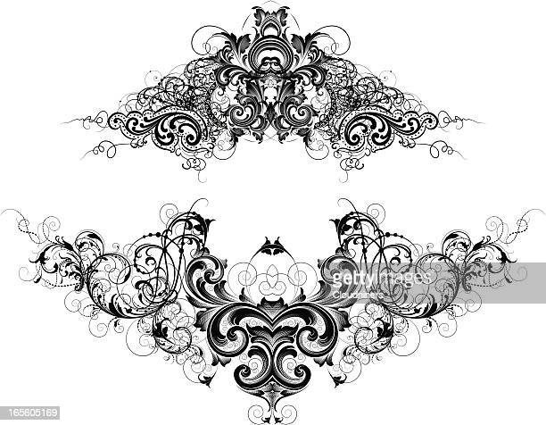 intricate headers - gothic style stock illustrations, clip art, cartoons, & icons
